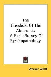 Cover of: The Threshold Of The Abnormal | Werner Wolff