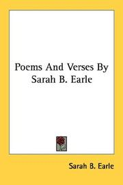 Cover of: Poems And Verses By Sarah B. Earle