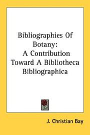 Cover of: Bibliographies Of Botany