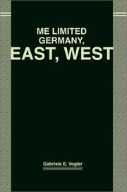 Cover of: Me Limited Germany, East, West | Gabriele Vogler