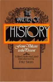 Cover of: varieties of history: from Voltaire to the present | Fritz Richard Stern
