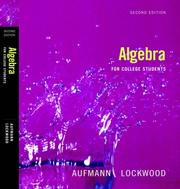 Cover of: Aufmann, Algebra For College Students