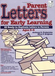 Cover of: Parent Letters For Early Learning | Anthony D. Fredericks