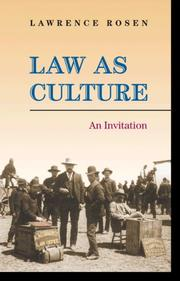 Cover of: Law as Culture | Lawrence Rosen