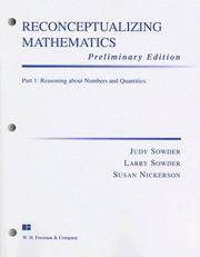 Cover of: Reconceptualizing Mathematics Part 1 Preliminary Edition