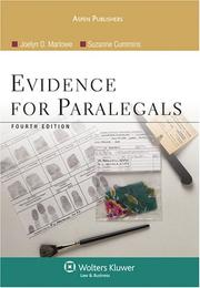 Cover of: Evidence for Paralegals, Fourth Edition | Joelyn D. Marlowe