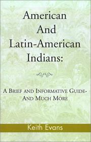 Cover of: American And Latin-American Indians: | Keith Evans