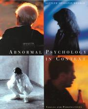 Cover of: Abnormal psychology in context