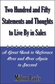 Cover of: 250 Statements and Thoughts to Live by in Sales
