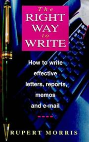 Cover of: Right Way to Write | Rupert Morris