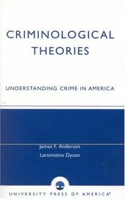 Cover of: Criminological Theories | Anderson James F.