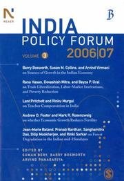 Cover of: India Policy Forum 2006-07 |