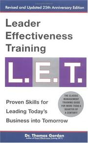 Cover of: Leader effectiveness training, L.E.T