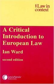 Cover of: A critical introduction to European law