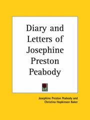 Cover of: Diary and Letters of Josephine Preston Peabody | Peabody, Josephine Preston