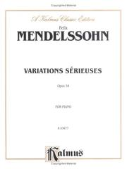 Cover of: Mendelssohn Variations Serieuses, Op.54""