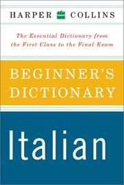 Cover of: HarperCollins Beginner's Italian Dictionary