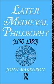 Cover of: Later Medieval Philosophy: (1150-1350) An Introduction (1150-1350 : An Introduction)