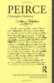 Cover of: Peirce (Arguments of the Philosophers) | Christopher Hookway