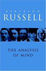 Cover of: The analysis of mind