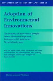 Cover of: Adoption of environmental innovations