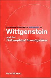 Cover of: Routledge Philosophy Guidebook to Wittgenstein and the Philosophical Investigations