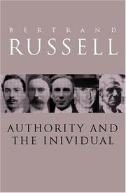 Cover of: Authority and the individual