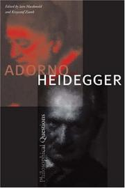 Cover of: Adorno and Heidegger |