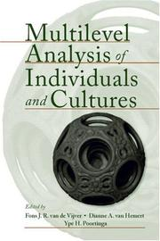 Cover of: Multilevel Analysis of Individuals and Cultures |