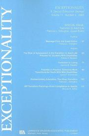 Cover of: Transition To Adult Life: A Special Issue of exceptionality (Exceptionality : a Special Education Journal, Vol 11 Number 2, 2003)