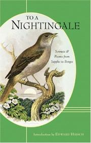 Cover of: To a Nightingale: Sonnets and Poems from Sappho to Borges
