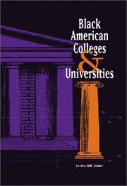 Cover of: Black American Colleges and Universities | Levirn Hill