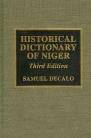 Cover of: Historical dictionary of Niger