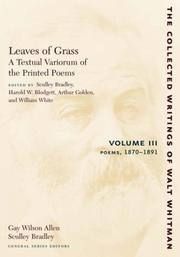 Cover of: Leaves of Grass, A Textual Variorum of the Printed Poems: Volume III: Poems | Walt Whitman