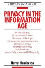 Cover of: Privacy in the information age