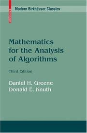 Cover of: Mathematics for the Analysis of Algorithms
