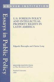 Cover of: U.S. foreign policy and intellectual property rights in Latin America