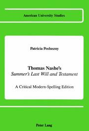 Thomas Nashe's Summer's Last Will and Testament by Patricia Posluszny