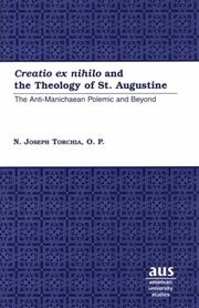 Cover of: Creatio ex nihilo and the theology of St. Augustine