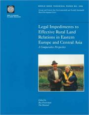Cover of: Legal impediments to effective rural land relations in ECA countries