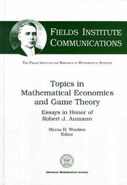 Cover of: Topics in Mathematical Economics in Game Theory