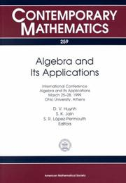 Cover of: Algebra and Its Applications | China) International Conference on Advances in Structural Dynamics (2000 : Hong Kong