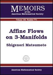 Cover of: Affine Flows on 3-Manifolds (Memoirs of the American Mathematical Society) | Shigenori Matsumoto