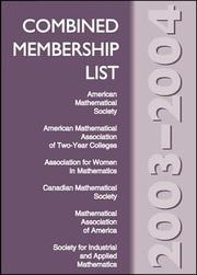 Cover of: Combined Membership List 2003--2004 | American Mathematical Society.