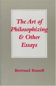 Cover of: The art of philosophizing and other essays