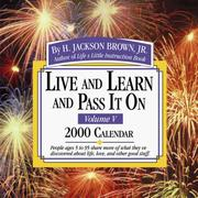 Cover of: Live and Learn and Pass It on 2000 Calendar