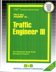 Cover of: Traffic Engineer lll (Career Examination series) (Career Examination) |