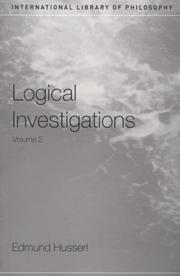 Cover of: Logical Investigations (International Library of Philosophy)