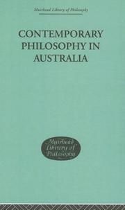 Cover of: Contemporary Philosophy in Australia (Muirhead Library of Philosophy)