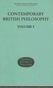 Cover of: Contemporary British Philosophy | J H Muirhead